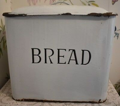 """Vintage Enamel Large Bread Bin With Lid White And Blue Country Kitchen 12"""""""