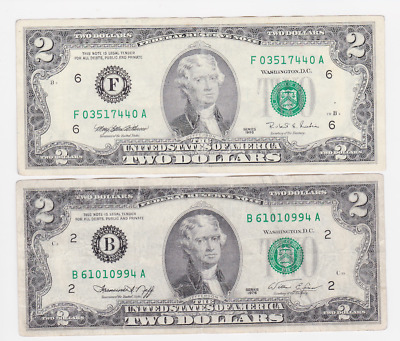 Usa ,$ 2,2  ,1995,1976, Legal Tender .2Pcs  ,collectable Item ,  See Scan