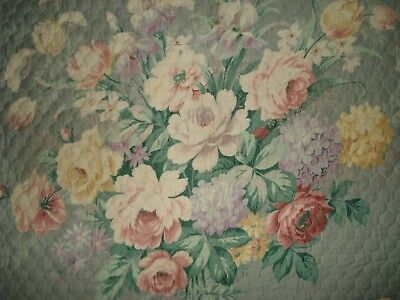 VINTAGE 1930's 1940's SHABBY CHIC Floral Quilted Curtain Drape Pillow BARKCLOTH
