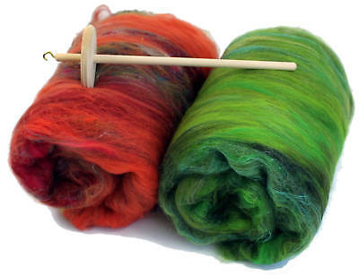 Drop Spindle Kit Learn to Spin your own Yarn + 2 x Magical Mystery Batts