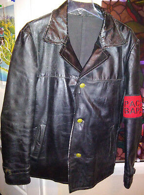 Soviet WW2 Cold War Political Officer Commissar Leather Jacket & Arm Band Size L