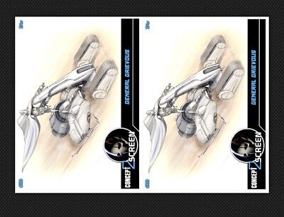 2x GENERAL GRIEVOUS #5-BLUE-CONCEPT TO SCREEN-TOPPS STAR WARS CARD TRADER