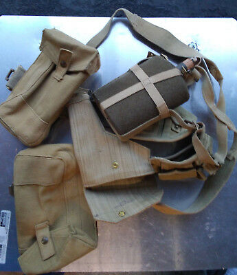 WW2 British pattern 37 Webbing Kit Set Belt Pouches Canteen Holster