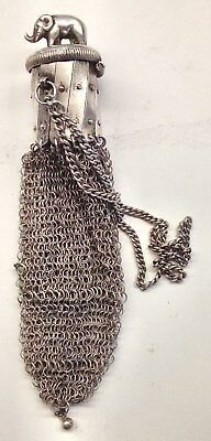 Vntg Sterling Silver Chainmail Mesh Gate Top Beggars Bag Purse - Elephant Finial