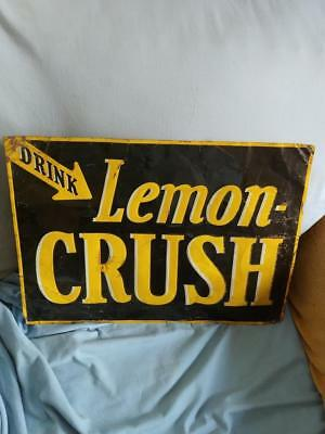TOUGH EARLY 1900s DRINK LEMON CRUSH SODA EMBOSSED TIN LITHO SIGN-14x19-NICE!!