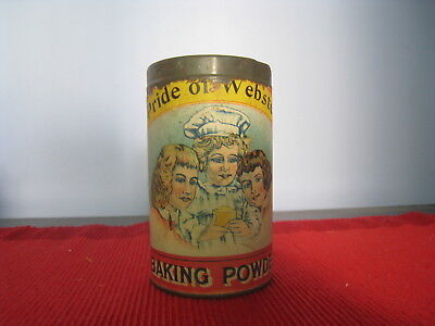 PRIDE of WEBSTER NY VTG BAKING POWDER TIN PAPER LABEL-3 GIRLS DUDLEY FAIRPORT NY