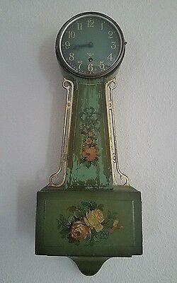 Antique Gilbert Banjo Wall Clock: Rare Green Crackle!!!