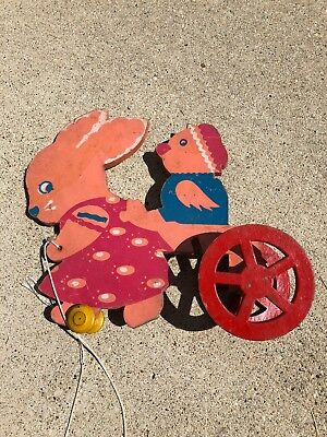 VTG RIDING BUNNY TRIXY TOY Fiber EASTER PULL TOY
