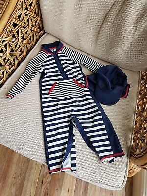 Marks and Spencer Age 6 - 9 Months 2 Part Set Boys Swimming Hat Full Outfit Blue
