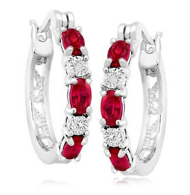 2 ct Created Ruby Hoop Earrings with Accents in Platinum-Plated Brass