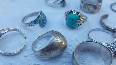 Lot of Sterling Silver Scrap or Not Rings, vintage modern, stones