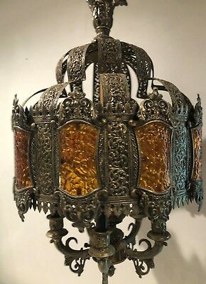 Antique Victorian 5 Light Solid Brass Chandelier Ceiling Lamp, Beautiful,Used.