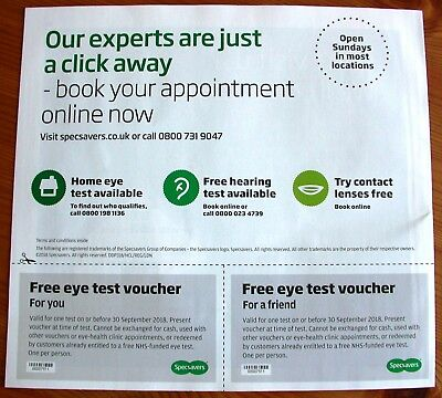 2 Specsavers Eye Test Vouchers Coupon Valid  30 September 2018 authentic genuine