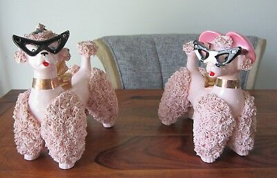Vintage Large Pair Of Pink Spaghetti Poodles Cat Eye Glasses Rhinestones 7 Inch