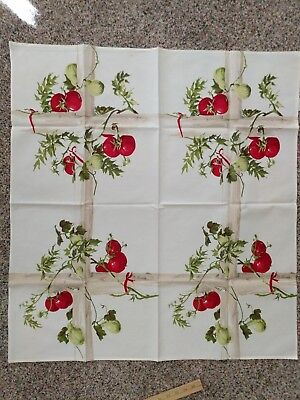 VINTAGE TOMATO VINE TABLECLOTH FOR CARD TABLE BY WILENDURE 35 inches Cotton