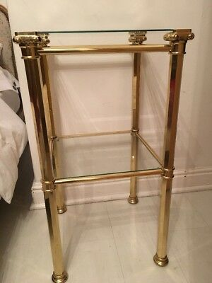 Vintage Brass Glass Top 2 Tiered Table Shelf Unit Plant Stand