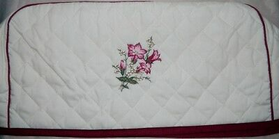 NWT Toaster Cover Embroidered Berries & Cream Fabric Quilted 4 Slice Oversized