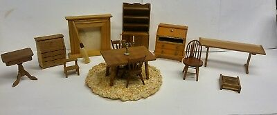 VINTAGE Lot of 15 Items of Dollhouse Wooden Miniature Furniture 1:12 plus