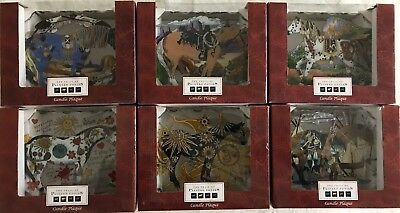 Joan Baker Trail of Painted Ponies 6 Candle Plaques hand painted glassart $8.50