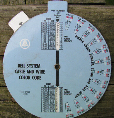 Original Bell System cable and wire color code wheel Form E4911 (4-65)