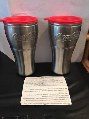 2 NWOT-Coca-Cola Stainless Steel Travel Tumblr Mug/Cup-Thermo-Serv W/ Red Lids!!