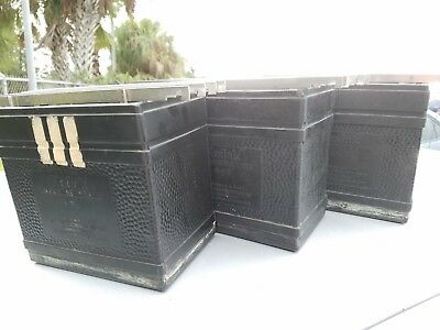 3 Kodak Hard Rubber Sheet Film Processing Tanks with 21 Kodak 4x5 Film Hangers
