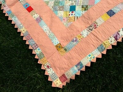 VINTAGE QUILT/HAND QUILTED 72 x 72 SWEET PEACH