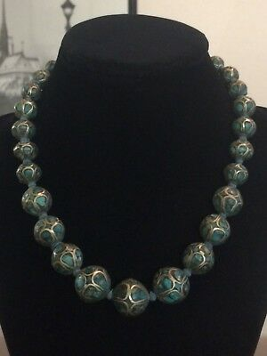 VTG/Antique Art Deco Mosaic Inlaid Turquoise Silver Bead Necklace 17""