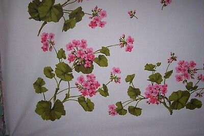 Vintage Wilendur tablecloth floral pink geranium. extremely RARE. ...yes PINK!!