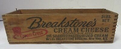 Vintage Breakstone's Cream Cheese Tongue & Groove Wooden Box