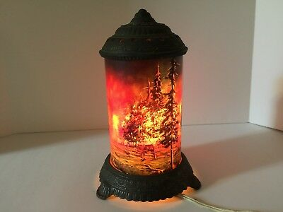 Vintage Cast Iron Scene In Action Lamp Glass Globe