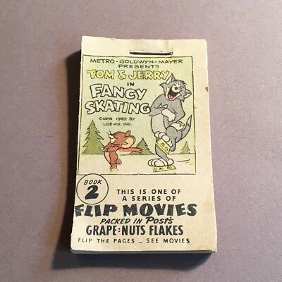 """VINTAGE, 1949, TOM & JERRY ANIMATED FLIP BOOK #2 with DROOPY, MGM, LOEWS, 2 1/2"""""""