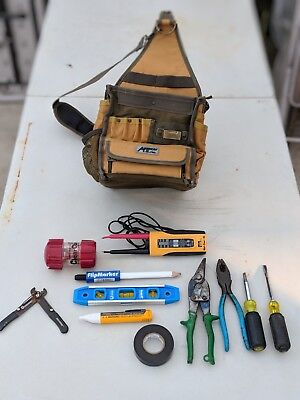 28 Pockets Electrician's Canvas Tool Bag w/ strap, PLUS TOOLS GREAT FOR STARTER