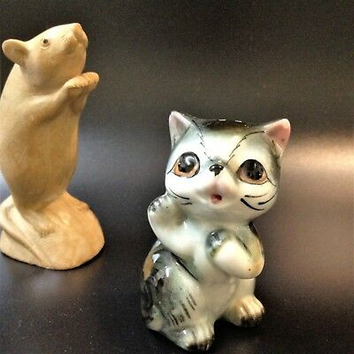 Vintage - Single Salt Shaker - Wide Eyed Little Kitten - w Original Cork Stopper