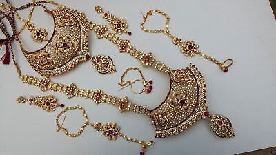 Indian Bridal Style 8 Piece Jewellery Set Gold Plated Red Clear Stones New