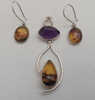 4500685229dfb6 Taxco 925 Sterling Silver Pendant + Earring Set With Natural Amber And  Amethyst