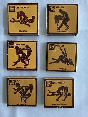 VERY RARE - 6 Vintage 1970's Astrological Zodiac Sexual Sex Position Match Boxes
