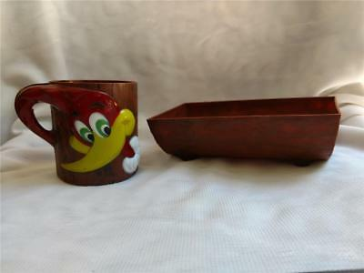 1965 Woody Woodpecker Cup & Cereal Log Bowl by F&F Mold Company