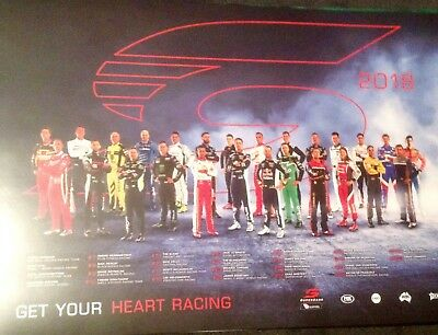 V8 Supercars Racing 2018 Drivers Poster Get Your Hearts Racing Vgc
