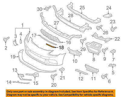 PORSCHE OEM Panamera Front Bumper Grille Grill-Retaining Strip Right 97050553601