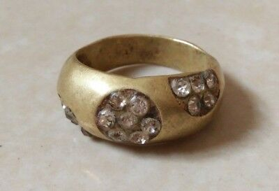 rare ancient antique roman authentic ring bronze with stone white