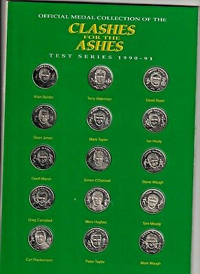 1990/91 Clashes For The Ashes Medals In Album. Set Of Fifteen.