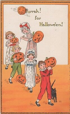 Hurrah For Halloween!  Post Card Showing Lots Of Kids With Pumpkins, Black Cat