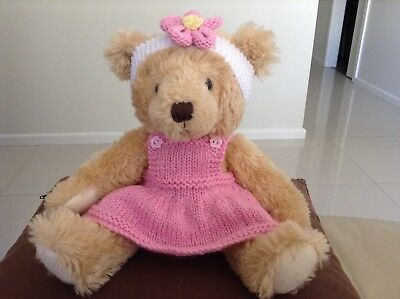 hand knitted teddy bear clothes to fit a 30cm teddy. Sundress and headband