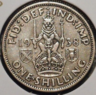 British Silver Shilling - 1938-S - King George VI - $1 Unlimited Shipping