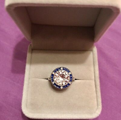Vintage 3ct Diamonique 14K White Gold Over Sterling Silver Ring
