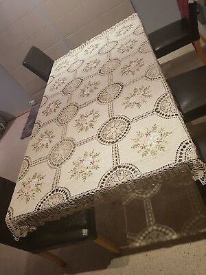 Crochet Table Cloth Hand Made Large8 Seat Table Cotton Linen European
