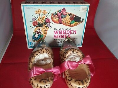 Hand Painted Pair Wooden Shoes From Holland In Original Box