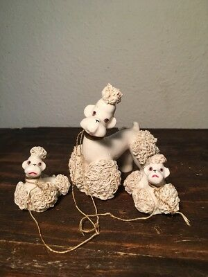Vintage Spaghetti Ceramic Poodles Mommy and 2 babies Made in Japan