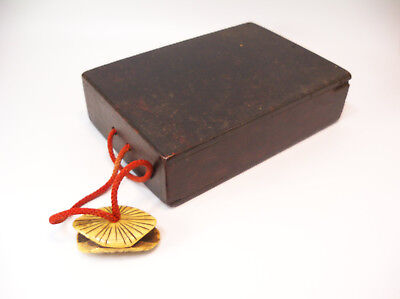 Antique Japanese Wood Book Pamphlet Box with Shell Netsuke